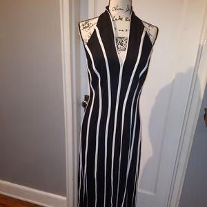 Tadashi Black and white stripped dress